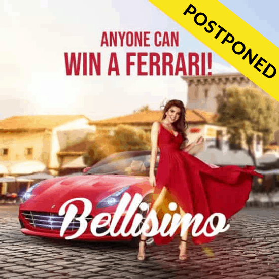 Anyone Can Win A Ferrari! postponed banner