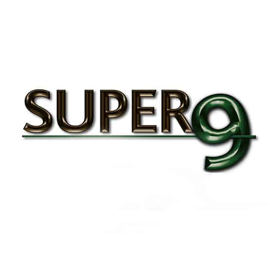 Super9 logo with a white background landscape banner