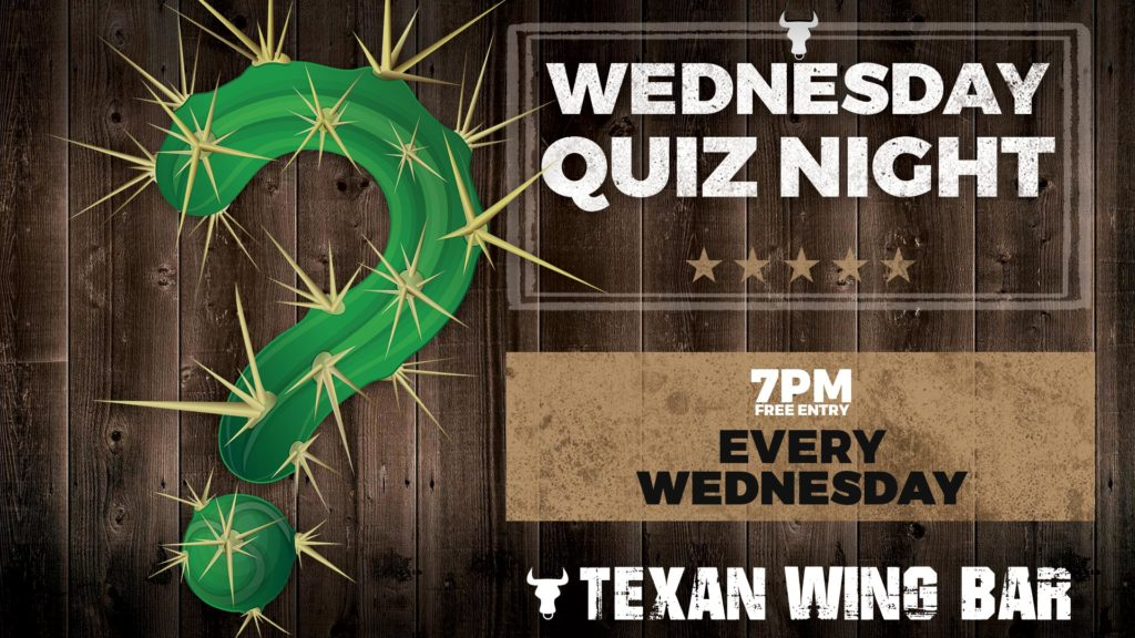Wednesday Quiz Night header banner at Texan Wing Bar, Montecasino