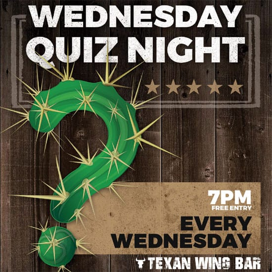 Wednesday Quiz Night event banner at Texan Wing Bar, Montecasino